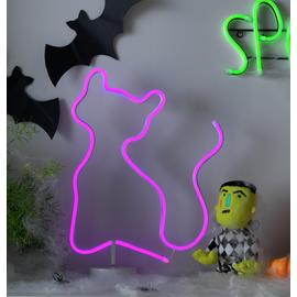 Argos Home Halloween Neon Cat Light