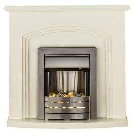 Truro Helios Electric Fire Suite - Cream and Brushed Steel
