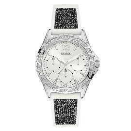 Guess Ladies White Silicone Crystal Set Strap Watch