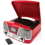 more details on GPO Memphis 4 in 1 Record Player Music System - Red.