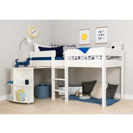Stompa White Mid Sleeper Bed Frame & Desk