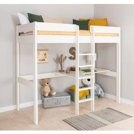 Stompa White High Sleeper Bed Frame, Desk & Mattress