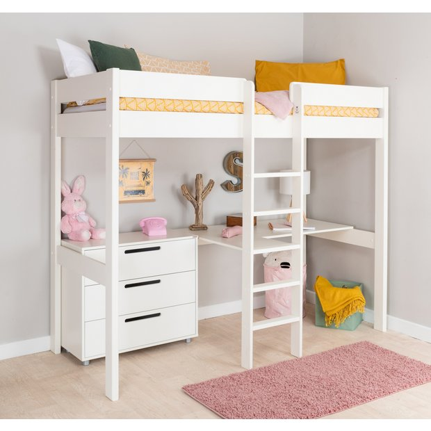 Buy Stompa White High Sleeper Bed Frame Desk Chest Kids Beds Argos