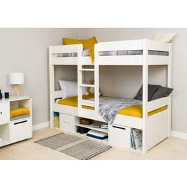 Stompa White Bunk Bed with Storage & Mattress
