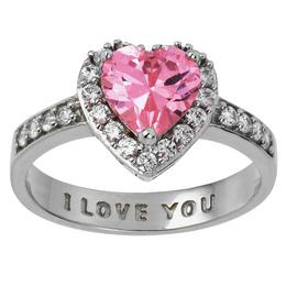 Moon & Back Sterling Silver Pink CZ 'I Love You' Ring