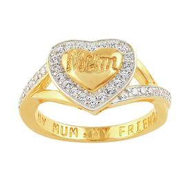 Moon & Back 9ct Gold Plated Silver 'My Mum, My Friend' Ring