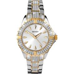 Seksy Intense Silver Dial Stone Set Silver & Gold Bracelet Ladies Watch 2001 Best Price and Cheapest
