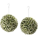 more details on Artificial Twin Pack White Garden Rose Balls - 28cm.