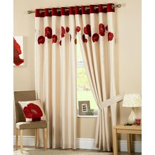 Curtina Danielle Lined Eyelet Curtains - 229x274cm - Red