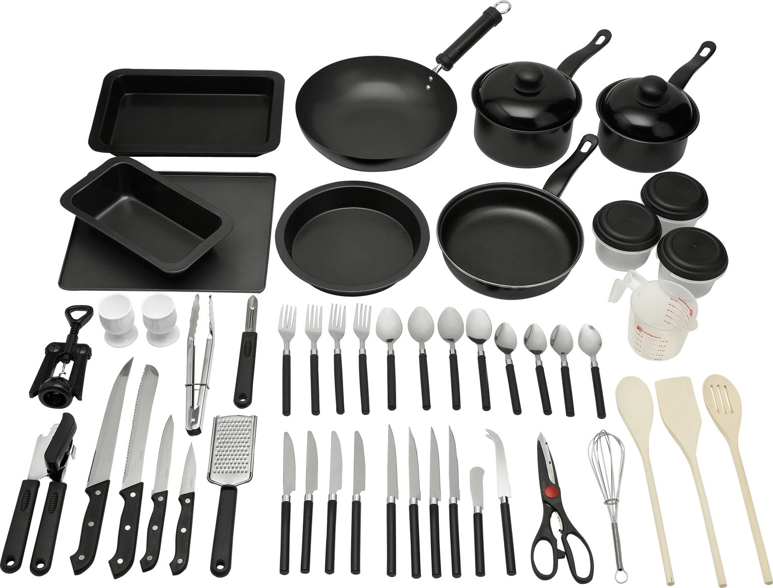 buy argos home 50 piece non stick kitchen starter set starter sets rh argos co uk