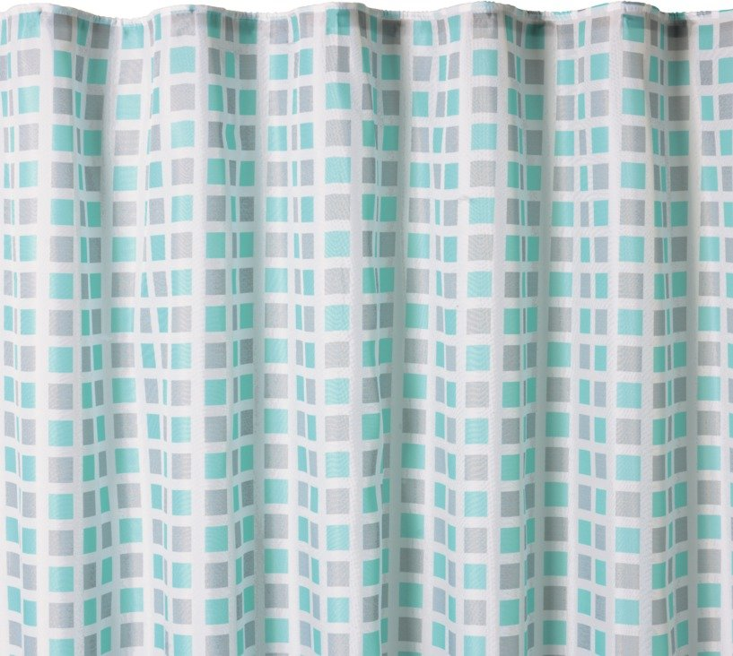 HOME Squares Mould Resistant Shower Curtain   Blue U0026 Grey
