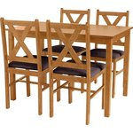 more details on HOME Ava Solid Oak Dining Table &4 Chairs - Chocolate