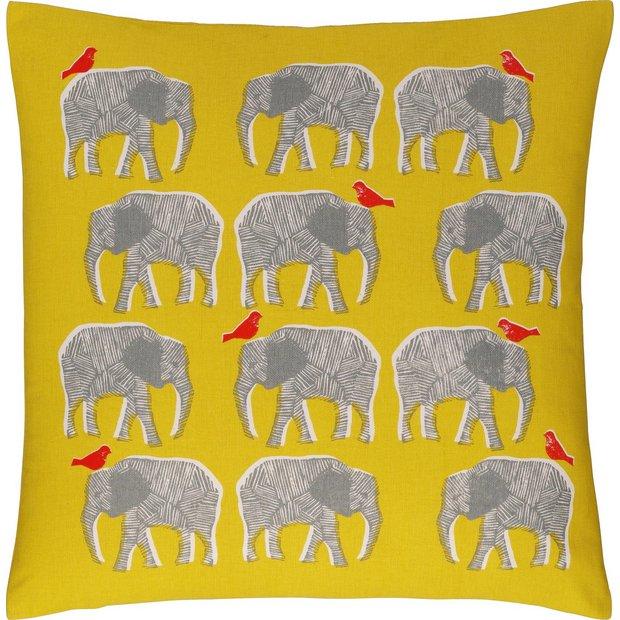 buy habitat topsy elephant pattern cushion yellow. Black Bedroom Furniture Sets. Home Design Ideas