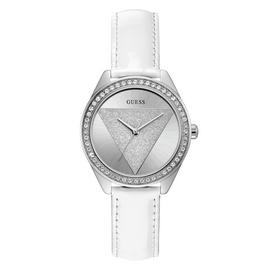 Guess Ladies White Leather Strap Watch
