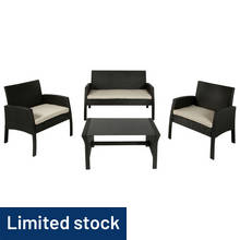 4 Seater Rattan Effect Sofa Set
