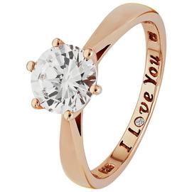Revere 9ct Rose Gold Plated Silver 'I Love You' Ring