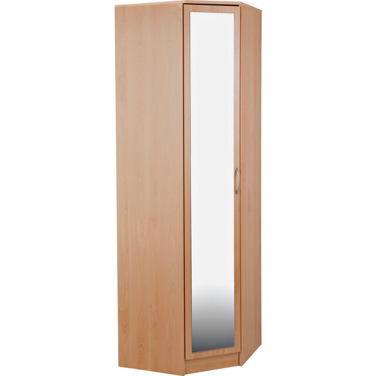 Buy Collection Cheval 1dr Mirrored Corner Wardrobe Beech