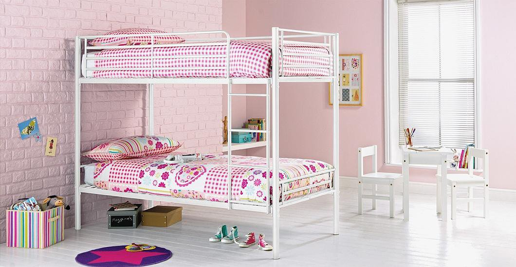 home samuel single bunk bed frame white
