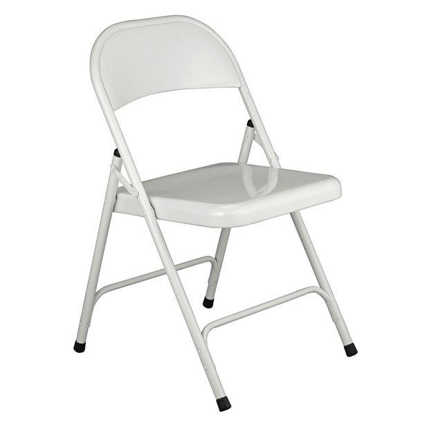 Buy Habitat Macadam Metal Folding Chair White Dining Chairs Argos