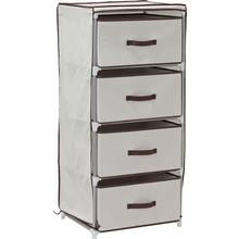 HOME Metal and Polycotton 4 Drawer Storage Unit - Cream