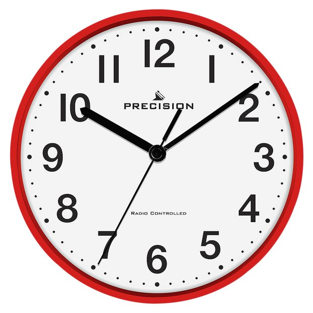buy precision radio controlled wall clock red at your online shop for clocks. Black Bedroom Furniture Sets. Home Design Ideas
