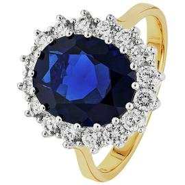 Revere 9ct Gold Plated Silver Blue Sapphire CZ Cluster Ring