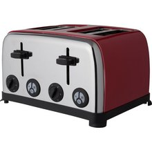 ColourMatch Stainless Steel 4 Slice Toaster - Poppy Red