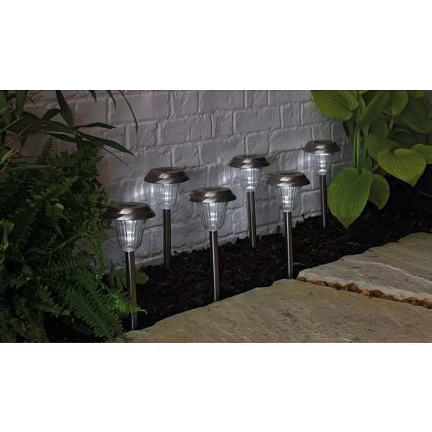 buy stainless steel solar lights set of 6 at. Black Bedroom Furniture Sets. Home Design Ideas