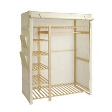 HOME Polycotton and Pine Triple Wardrobe - Cream