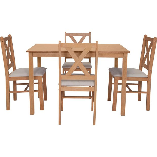 Buy home ava dining table and 4 chairs solid oak cream for Table and 4 chairs set