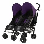 more details on Obaby Apollo Black and Grey Twin Stroller - Purple.