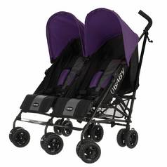 Obaby Apollo Black and Grey Twin Stroller - Purple