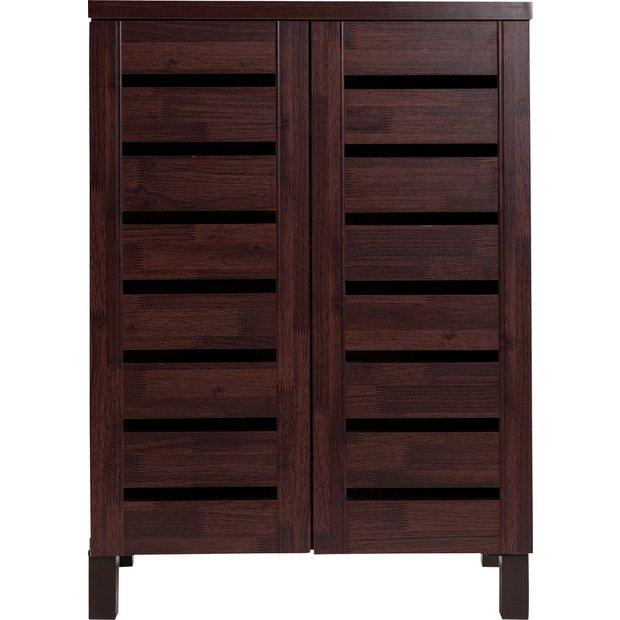buy home slatted shoe storage cabinet mahogany effect at. Black Bedroom Furniture Sets. Home Design Ideas