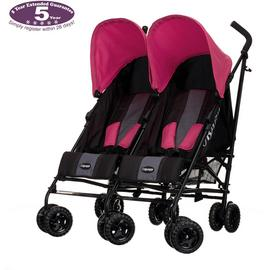 Obaby Apollo Black and Grey Double Pushchair - Pink