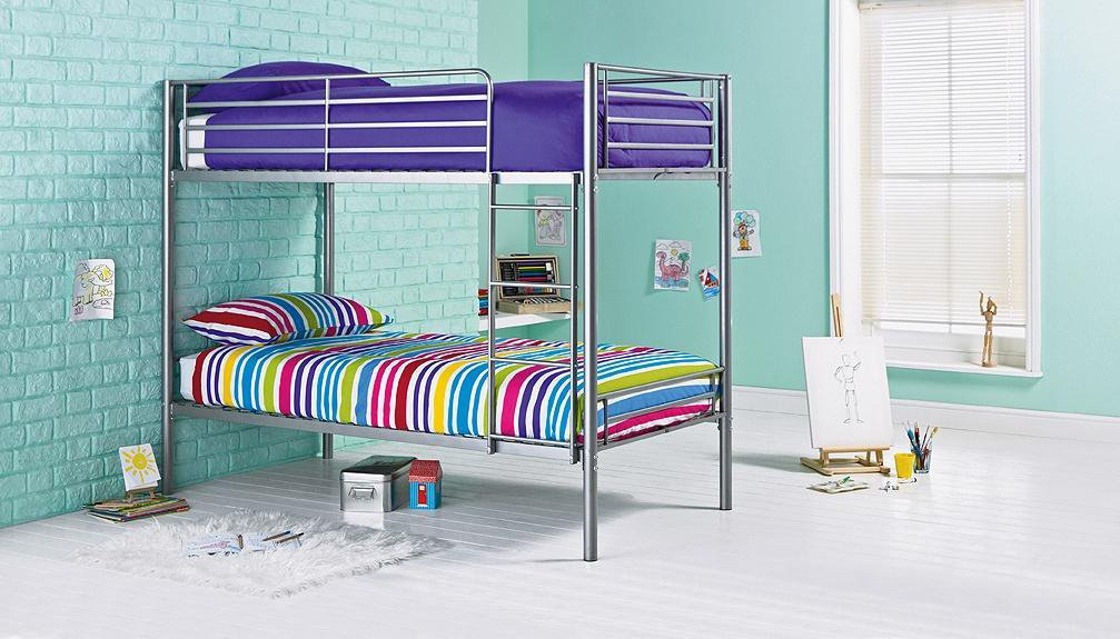 home samuel shorty bunk bed frame silver