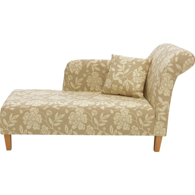 Buy home floral fabric chaise longue natural at for Chaise longue sofa bed argos