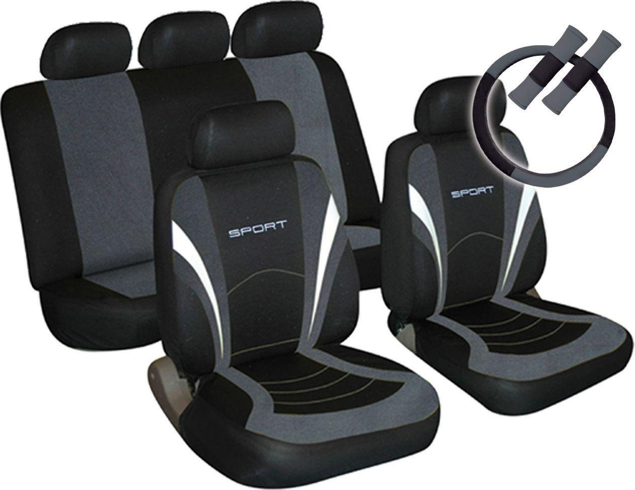 Sport Seat Cover Steering Wheel And Seat Belt Pads Grey