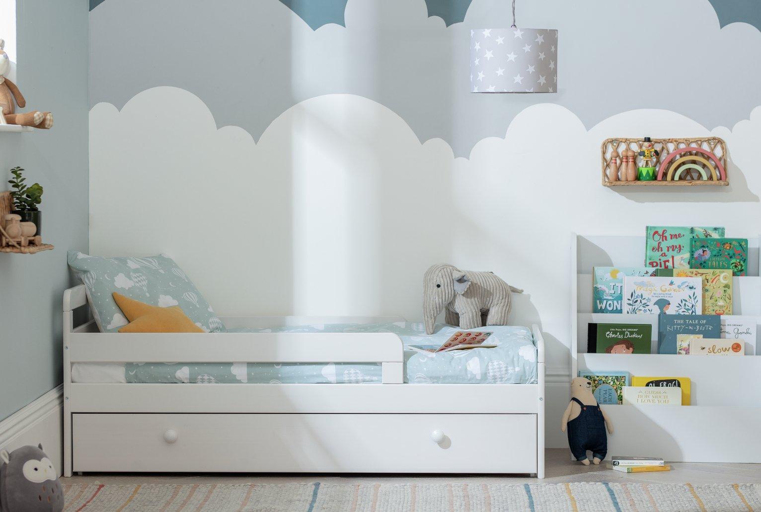 childrens beds. HOME Ellis Storage Toddler Bed Frame - White Childrens Beds