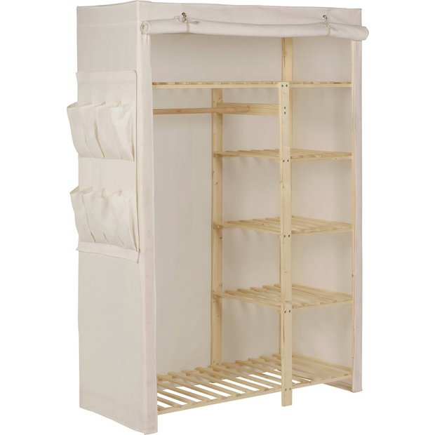 Buy home polycotton and pine double wardrobe cream at your online shop for Buy home furniture online uk