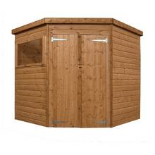 Mercia Shiplap Wooden Double Dr Corner Garden Shed - 7 x 7ft Best Price, Cheapest Prices