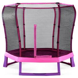 Plum 7ft Junior Jumper Trampoline with Enclosure-Pink/Purple