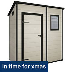 Keter Manor Plastic Beige & Brown Garden Shed - 6 x 4ft Best Price, Cheapest Prices