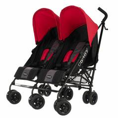 Obaby Apollo Black and Grey Twin Stroller - Red