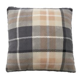Argos Home Check Cushion - Grey