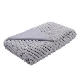 Argos Home Fur Zig Zag Metallic Throw - Grey