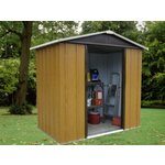 more details on Tall Woodgrain Apex Metal Shed - 6ft x 4ft.