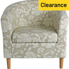 Argos Home Floral Fabric Tub Chair - Natural