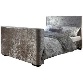 GFW Newark Crushed Velvet Kingsize TV Bed - Silver