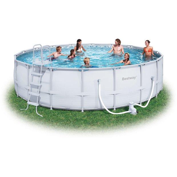 Buy bestway 18 39 steel pro frame pool set at for Garden pool argos