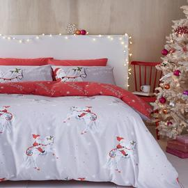 Catherine Lansfield Christmas Unicorn Easy Care Double Duvet Set Grey Best Price and Cheapest